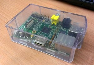 side view of raspberry pi in casing