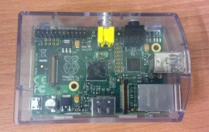 raspberry pi in casing top view